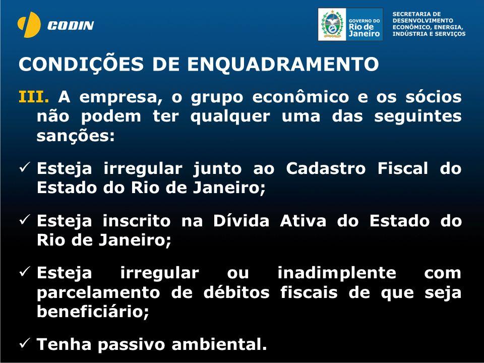CONDIÇÕES DE ENQUADRAMENTO