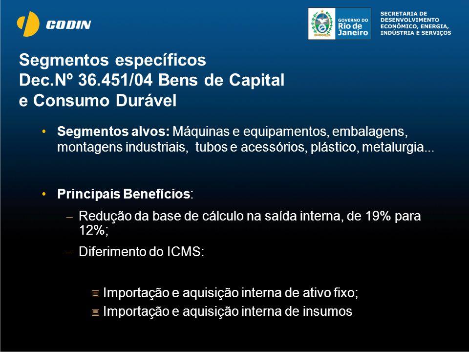 Segmentos específicos Dec.Nº 36.451/04 Bens de Capital