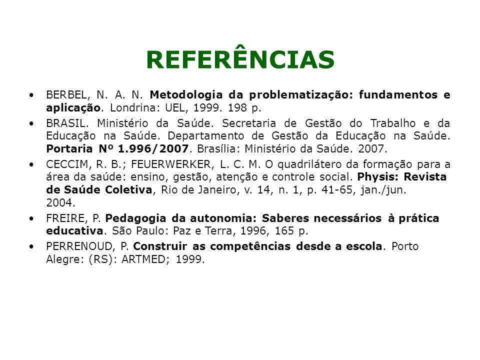 REFERÊNCIAS BERBEL, N. A. N. Metodologia da problematização: fundamentos e aplicação. Londrina: UEL, 1999. 198 p.