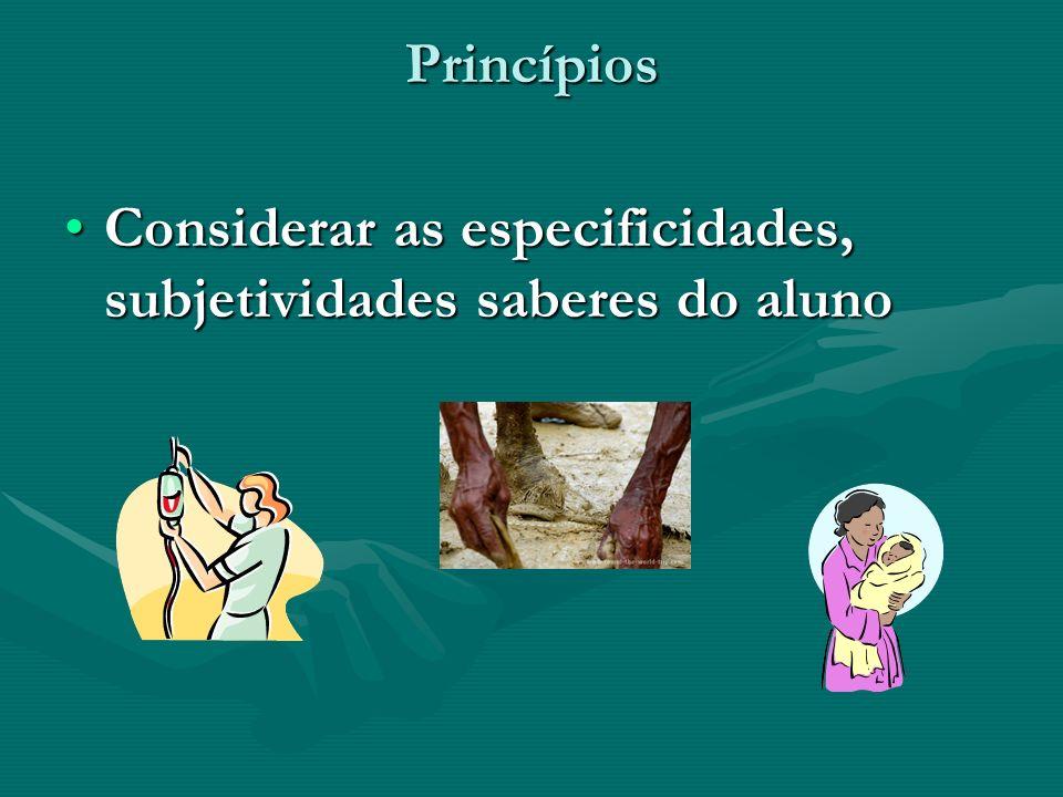 Princípios Considerar as especificidades, subjetividades saberes do aluno