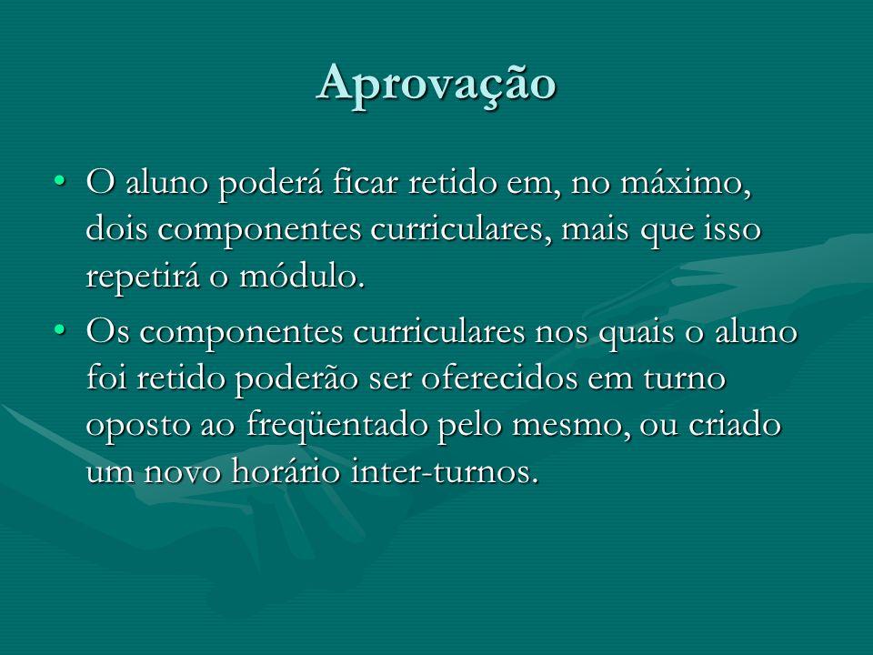 AprovaçãoO aluno poderá ficar retido em, no máximo, dois componentes curriculares, mais que isso repetirá o módulo.