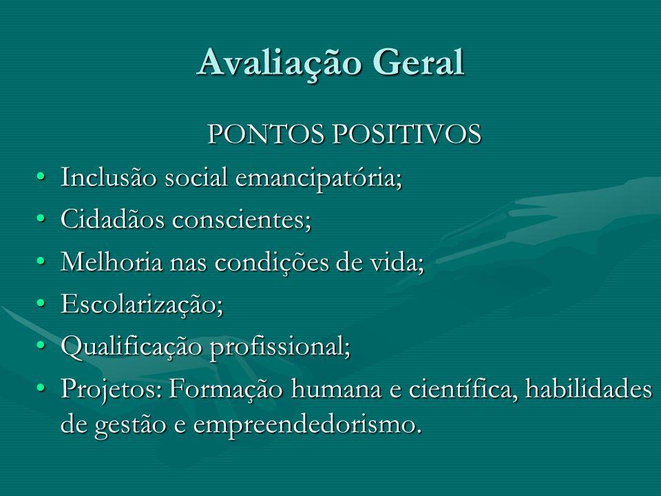 Avaliação Geral PONTOS POSITIVOS Inclusão social emancipatória;