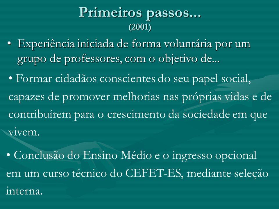 Primeiros passos... (2001) Experiência iniciada de forma voluntária por um grupo de professores, com o objetivo de...