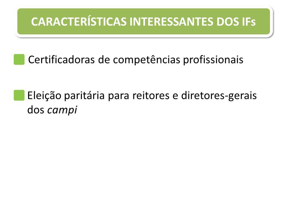 CARACTERÍSTICAS INTERESSANTES DOS IFs