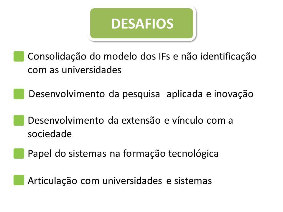 DESAFIOS Consolidação do modelo dos IFs e não identificação com as universidades. Desenvolvimento da pesquisa aplicada e inovação.