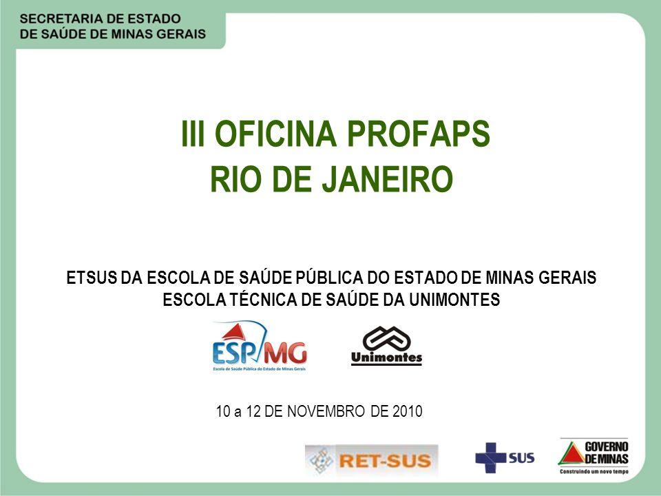 III OFICINA PROFAPS RIO DE JANEIRO ETSUS DA ESCOLA DE SAÚDE PÚBLICA DO ESTADO DE MINAS GERAIS ESCOLA TÉCNICA DE SAÚDE DA UNIMONTES