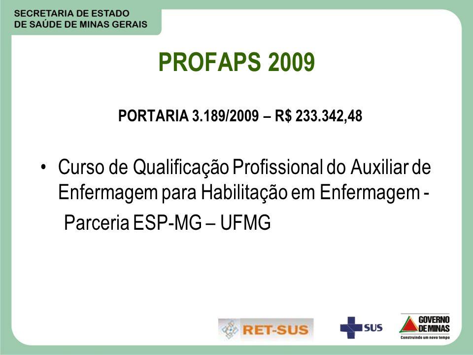 PROFAPS 2009 PORTARIA 3.189/2009 – R$ 233.342,48. Curso de Qualificação Profissional do Auxiliar de Enfermagem para Habilitação em Enfermagem -