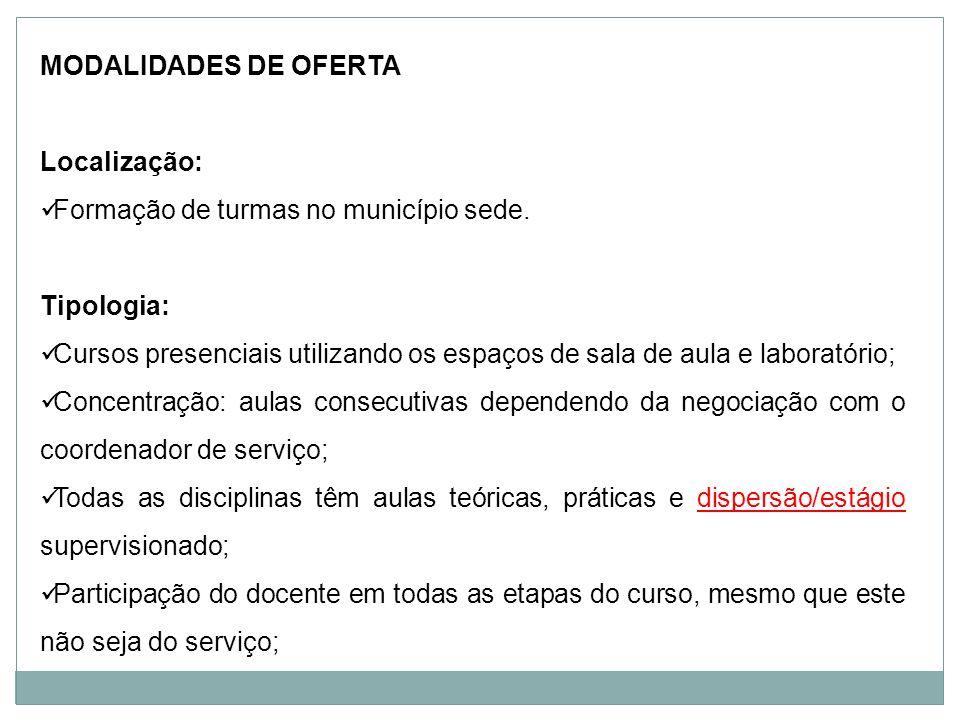 MODALIDADES DE OFERTA Localização: Formação de turmas no município sede. Tipologia: