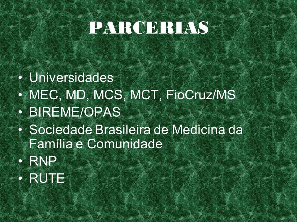 PARCERIAS Universidades MEC, MD, MCS, MCT, FioCruz/MS BIREME/OPAS