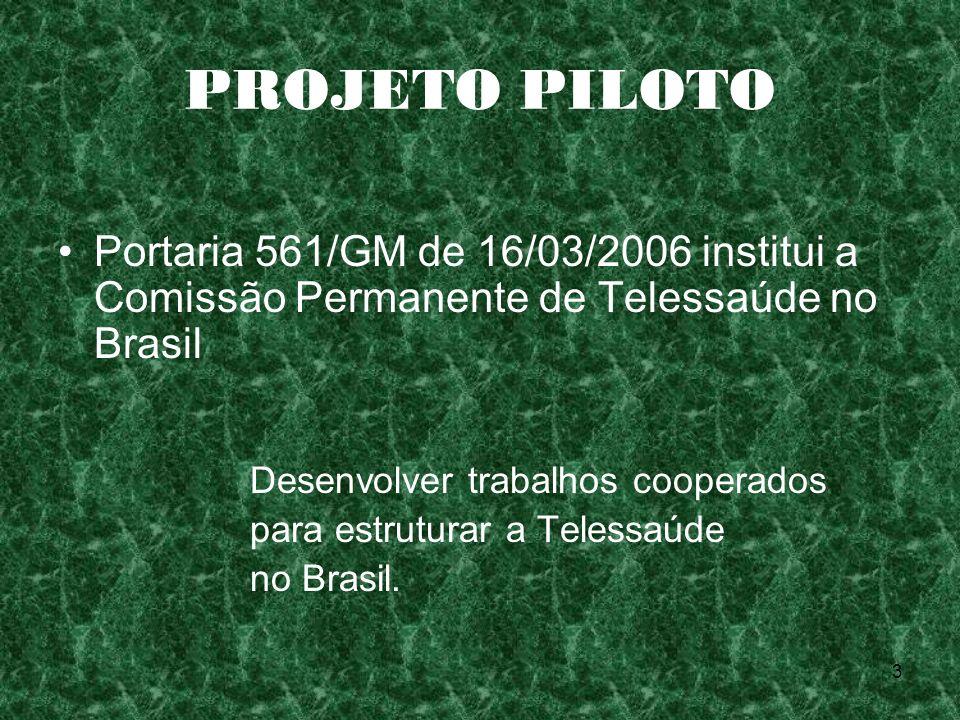 PROJETO PILOTO Portaria 561/GM de 16/03/2006 institui a Comissão Permanente de Telessaúde no Brasil.