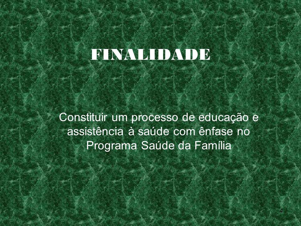 FINALIDADE Constituir um processo de educação e assistência à saúde com ênfase no Programa Saúde da Família.