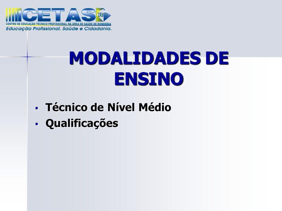 MODALIDADES DE ENSINO Técnico de Nível Médio Qualificações