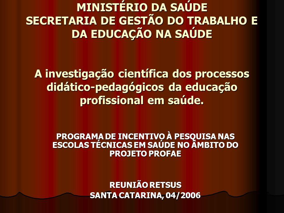 MINISTÉRIO DA SAÚDE SECRETARIA DE GESTÃO DO TRABALHO E DA EDUCAÇÃO NA SAÚDE A investigação científica dos processos didático-pedagógicos da educação profissional em saúde.