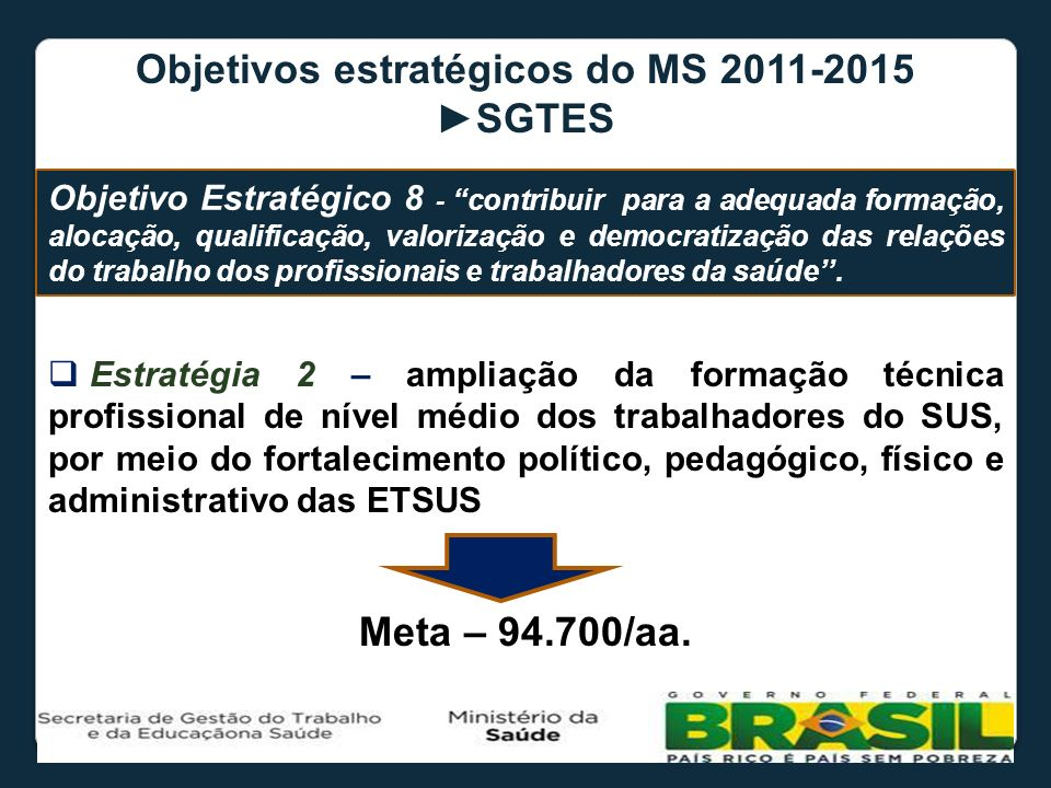 Objetivos estratégicos do MS ►SGTES