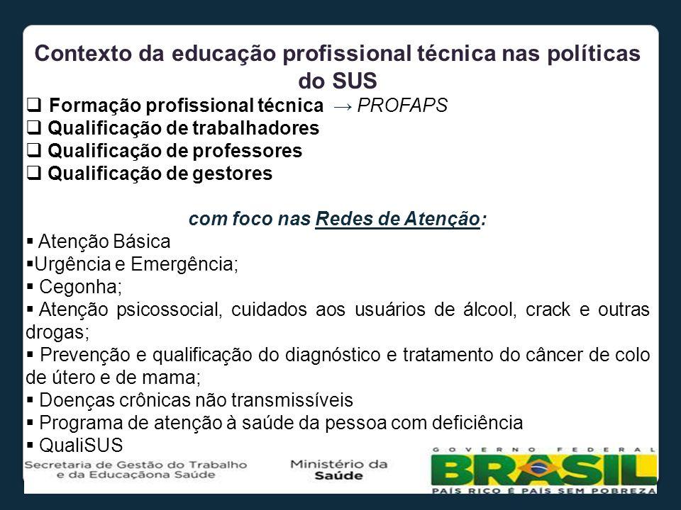 Contexto da educação profissional técnica nas políticas do SUS