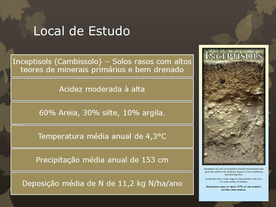 Local de EstudoInceptisols (Cambissolo) – Solos rasos com altos teores de minerais primários e bem drenado.