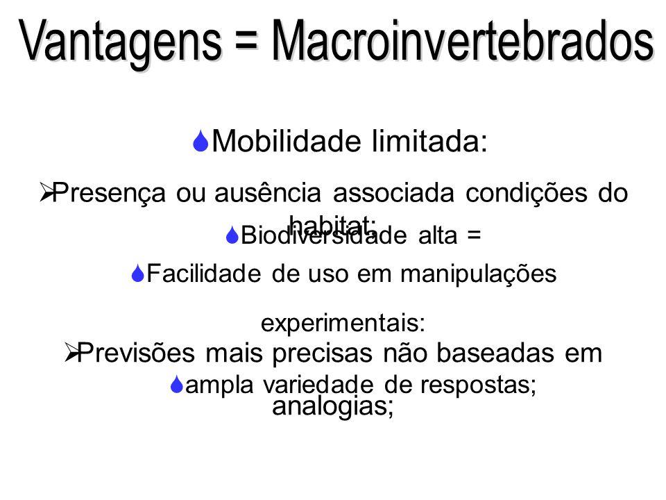 Vantagens = Macroinvertebrados
