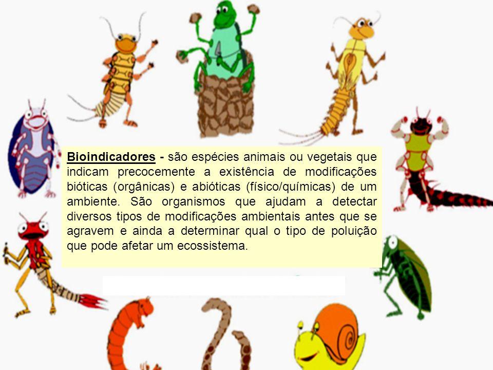 Bioindicadores - são espécies animais ou vegetais que indicam precocemente a existência de modificações bióticas (orgânicas) e abióticas (físico/químicas) de um ambiente. São organismos que ajudam a detectar diversos tipos de modificações ambientais antes que se agravem e ainda a determinar qual o tipo de poluição que pode afetar um ecossistema.