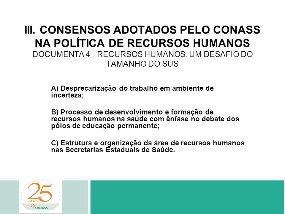 III. CONSENSOS ADOTADOS PELO CONASS NA POLÍTICA DE RECURSOS HUMANOS DOCUMENTA 4 - RECURSOS HUMANOS: UM DESAFIO DO TAMANHO DO SUS