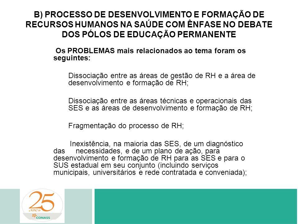 B) PROCESSO DE DESENVOLVIMENTO E FORMAÇÃO DE RECURSOS HUMANOS NA SAÚDE COM ÊNFASE NO DEBATE DOS PÓLOS DE EDUCAÇÃO PERMANENTE