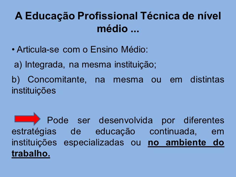 A Educação Profissional Técnica de nível médio ...