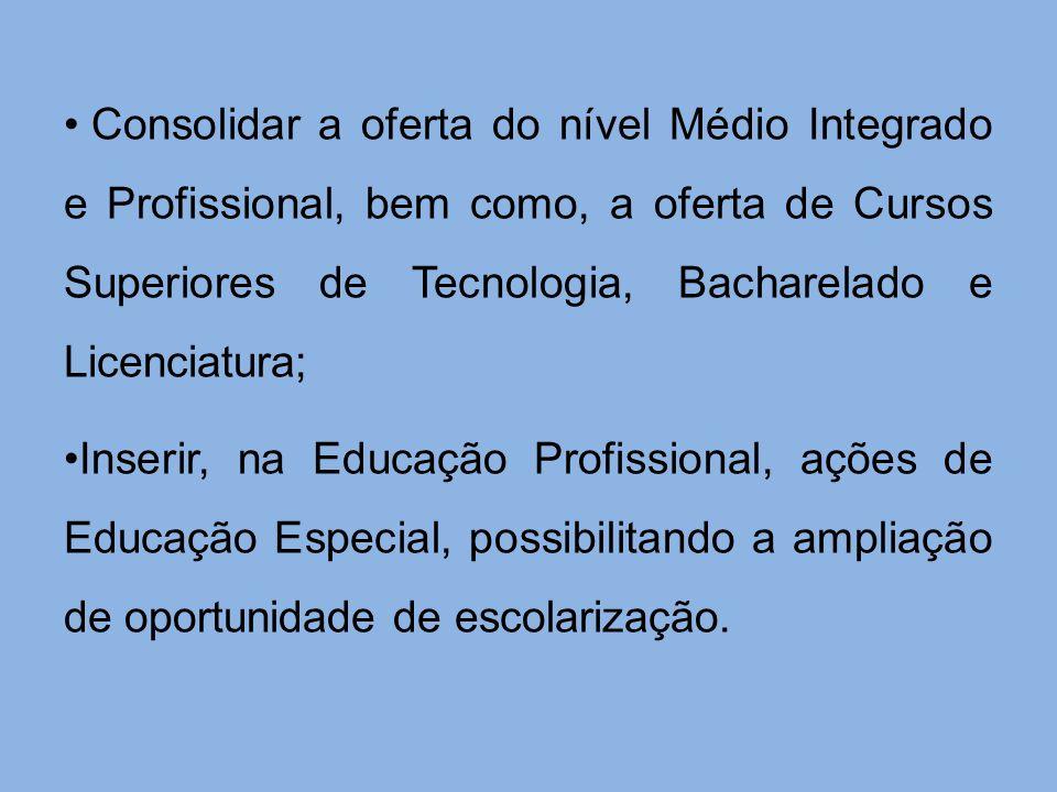 Consolidar a oferta do nível Médio Integrado e Profissional, bem como, a oferta de Cursos Superiores de Tecnologia, Bacharelado e Licenciatura;