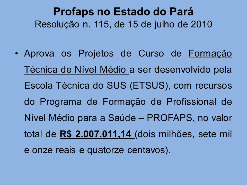 Profaps no Estado do Pará Resolução n. 115, de 15 de julho de 2010