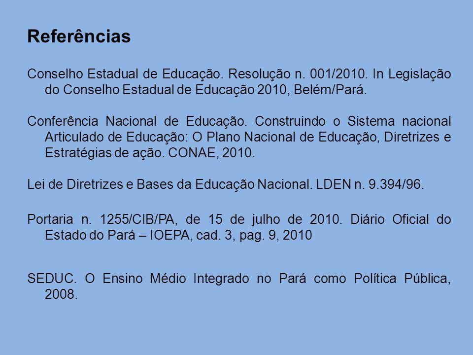 Referências Conselho Estadual de Educação. Resolução n. 001/2010. In Legislação do Conselho Estadual de Educação 2010, Belém/Pará.