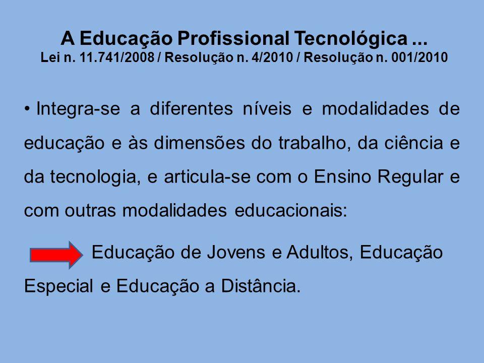 A Educação Profissional Tecnológica. Lei n. 11. 741/2008 / Resolução n