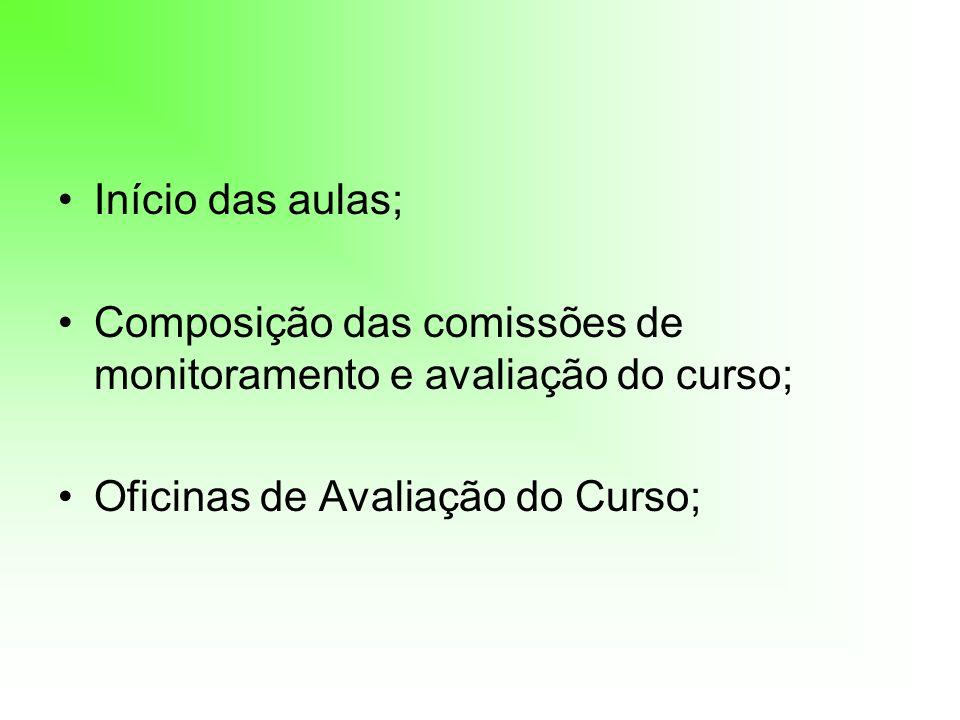 Início das aulas;Composição das comissões de monitoramento e avaliação do curso; Oficinas de Avaliação do Curso;