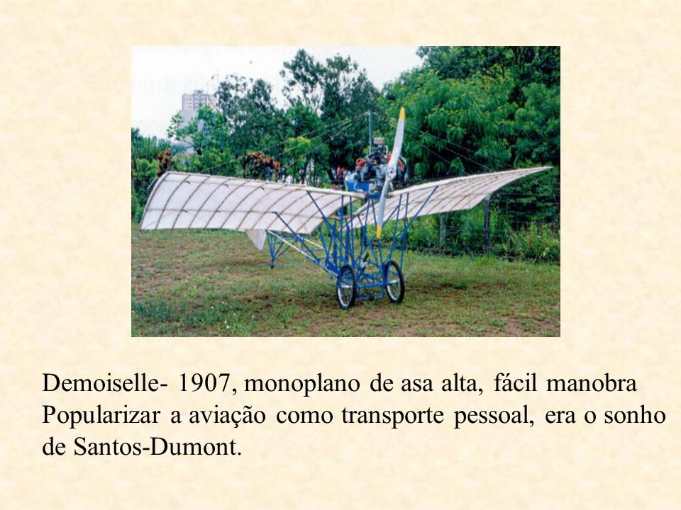 Demoiselle- 1907, monoplano de asa alta, fácil manobra