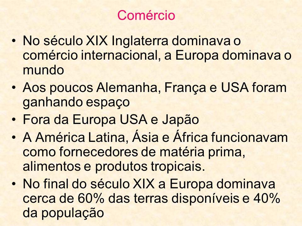 Comércio No século XIX Inglaterra dominava o comércio internacional, a Europa dominava o mundo.