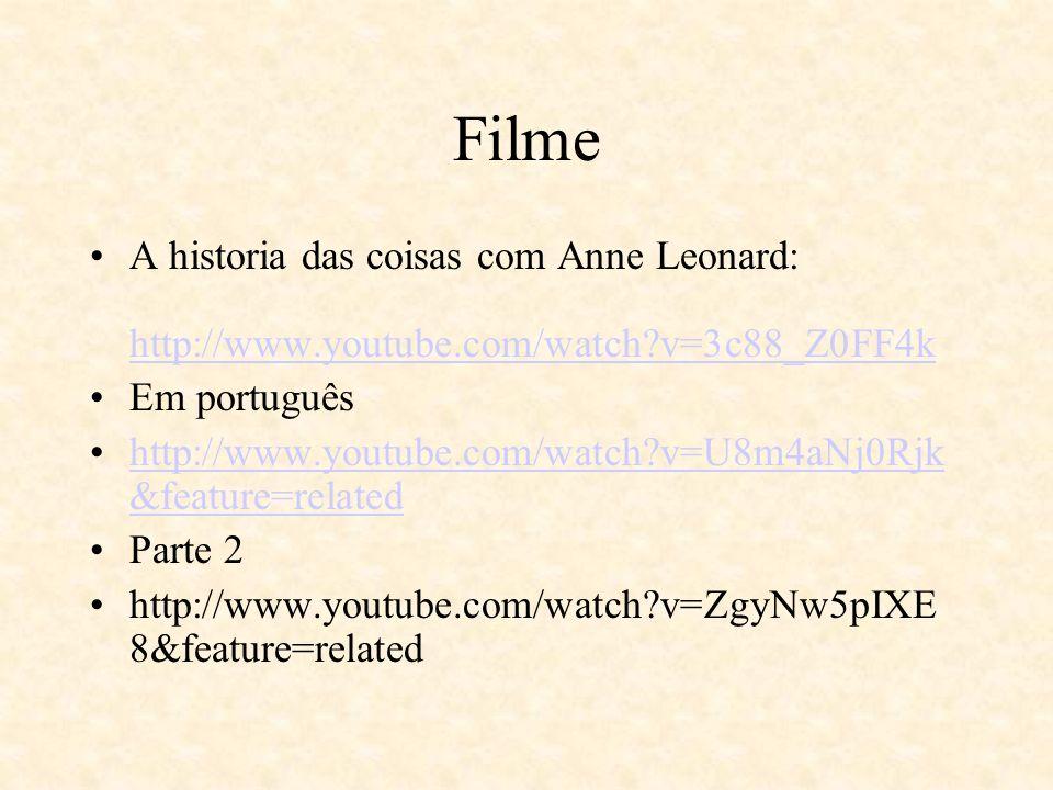 Filme A historia das coisas com Anne Leonard: http://www.youtube.com/watch v=3c88_Z0FF4k. Em português.