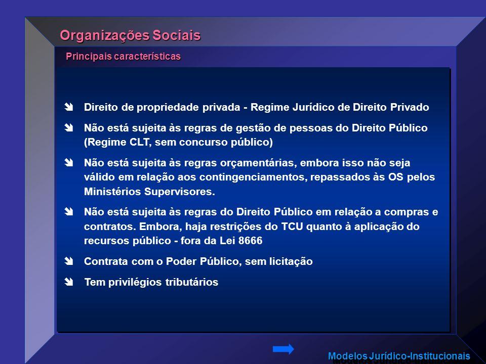 Organizações Sociais Principais características. Direito de propriedade privada - Regime Jurídico de Direito Privado.