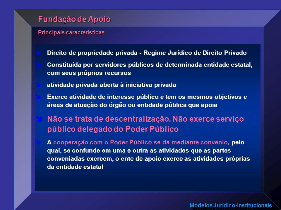 Fundação de Apoio Principais características. Direito de propriedade privada - Regime Jurídico de Direito Privado.