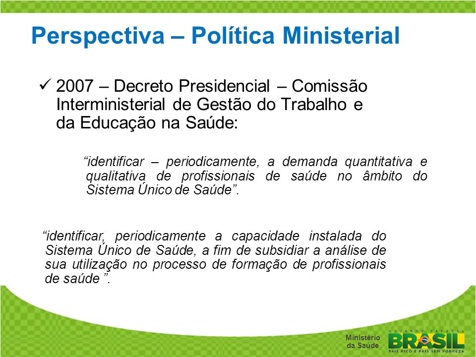 Perspectiva – Política Ministerial