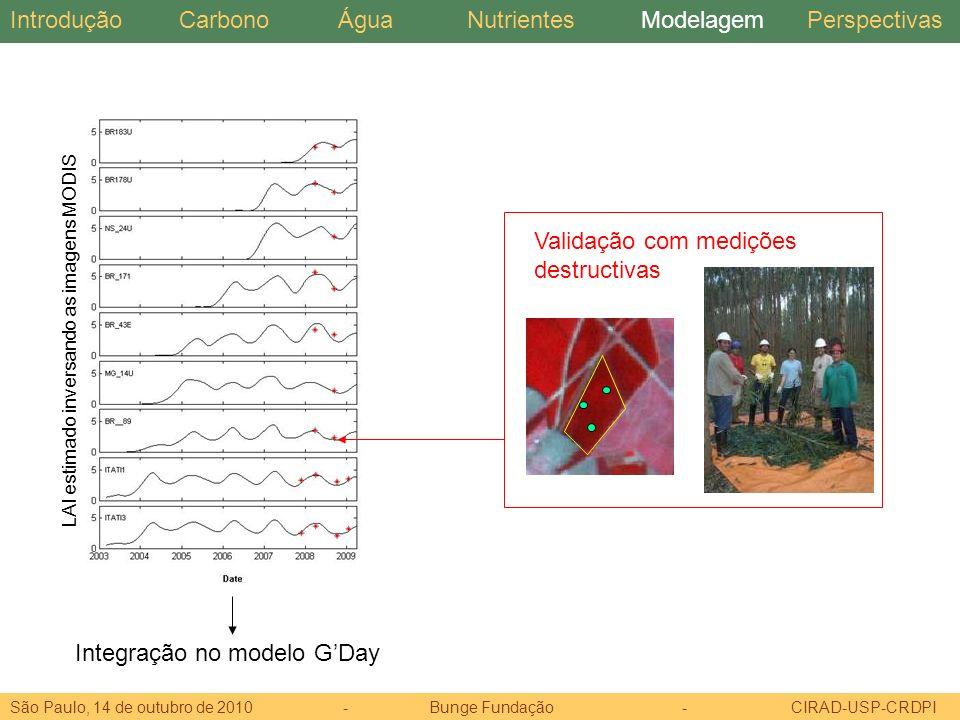 Integração no modelo G'Day Validação com medições destructivas