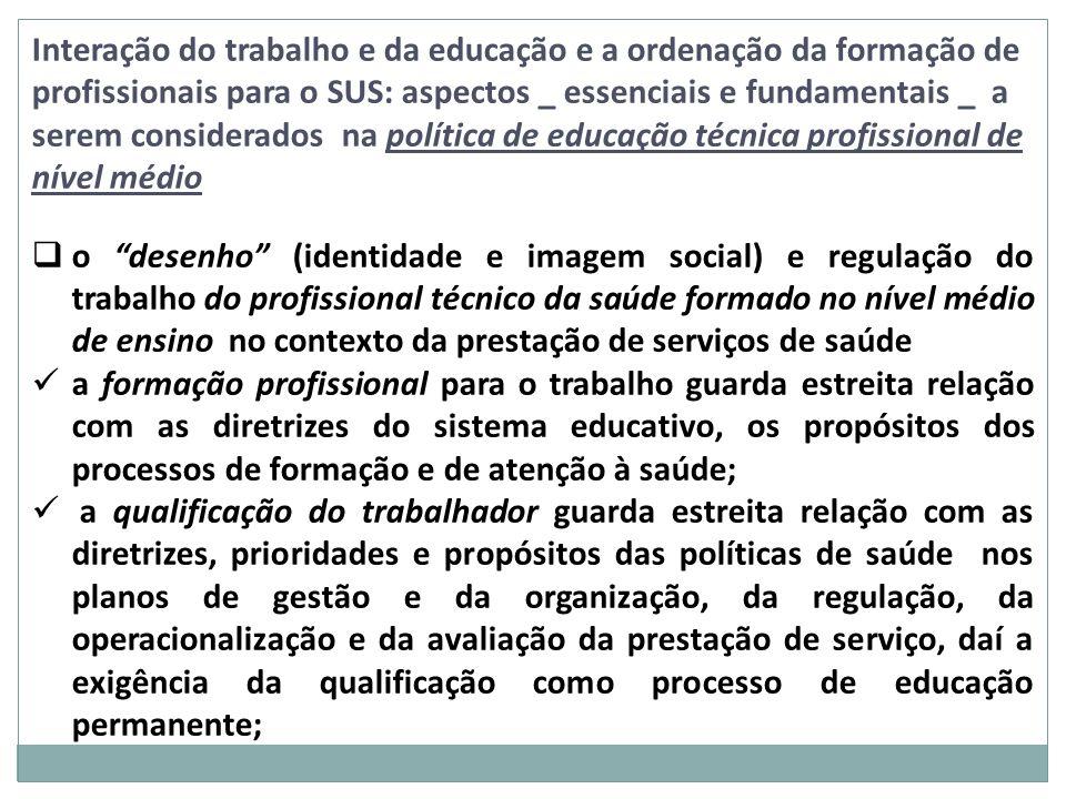 Interação do trabalho e da educação e a ordenação da formação de