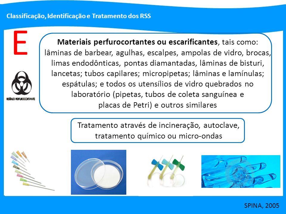 E Materiais perfurocortantes ou escarificantes, tais como: