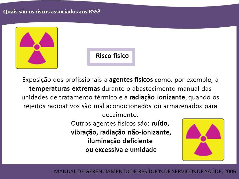 Outros agentes físicos são: ruído, vibração, radiação não-ionizante,