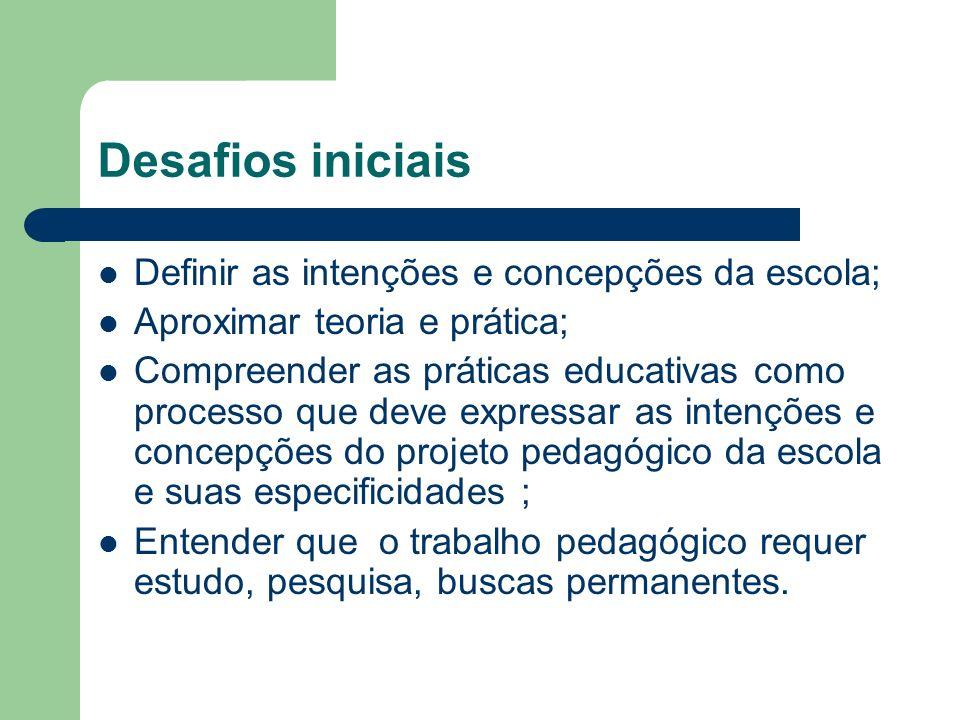 Desafios iniciais Definir as intenções e concepções da escola;