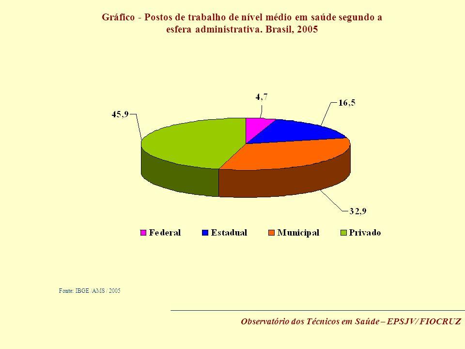 Gráfico - Postos de trabalho de nível médio em saúde segundo a