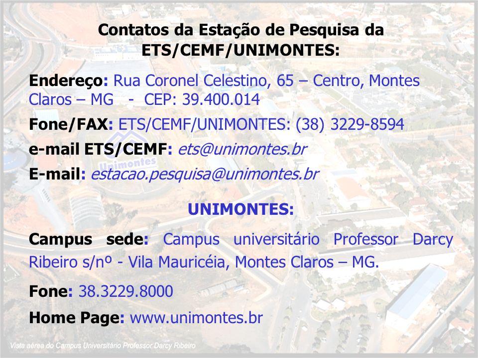 Contatos da Estação de Pesquisa da ETS/CEMF/UNIMONTES: