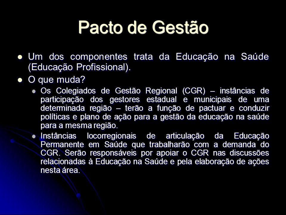 Pacto de Gestão Um dos componentes trata da Educação na Saúde (Educação Profissional). O que muda