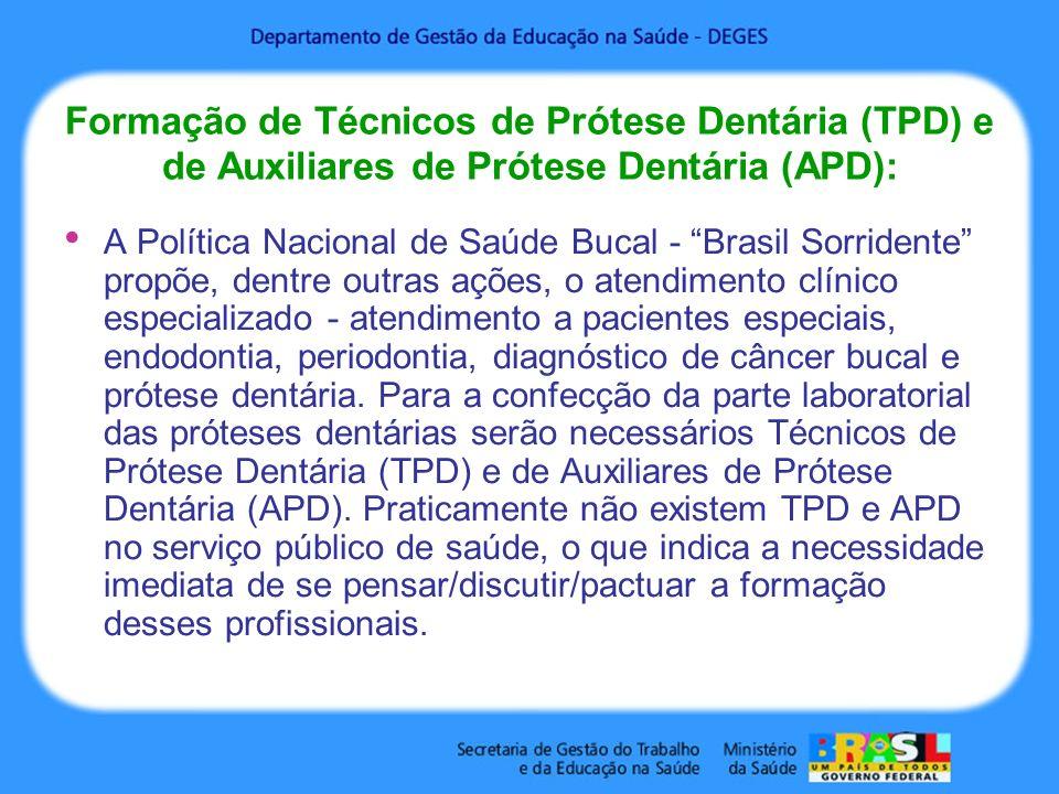 Formação de Técnicos de Prótese Dentária (TPD) e de Auxiliares de Prótese Dentária (APD):