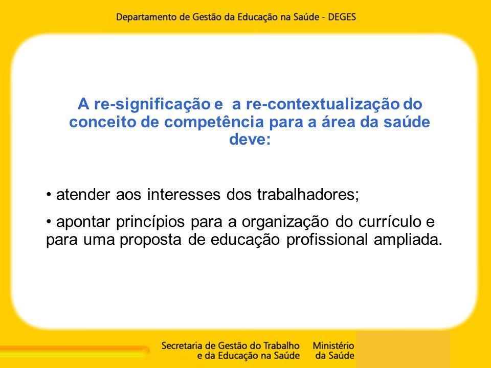 A re-significação e a re-contextualização do conceito de competência para a área da saúde deve: