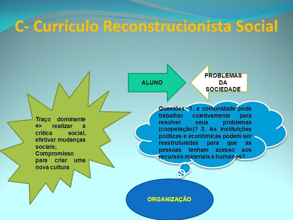 C- Currículo Reconstrucionista Social