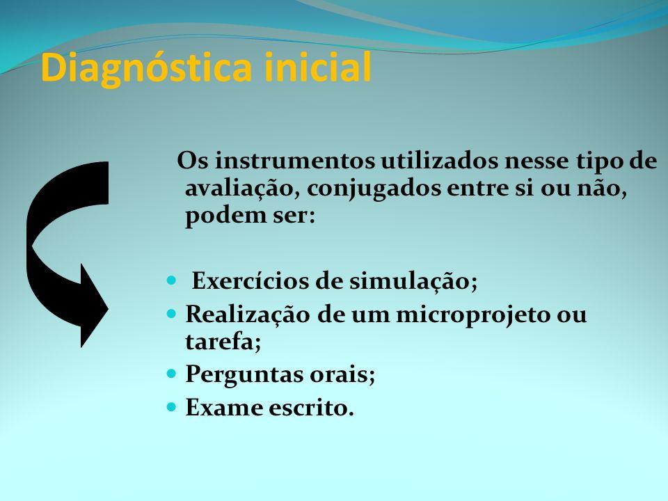 Diagnóstica inicial Os instrumentos utilizados nesse tipo de avaliação, conjugados entre si ou não, podem ser:
