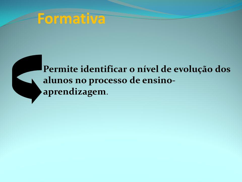 Formativa Permite identificar o nível de evolução dos alunos no processo de ensino-aprendizagem.