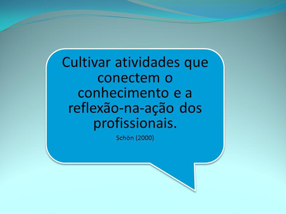 Cultivar atividades que conectem o conhecimento e a reflexão-na-ação dos profissionais.